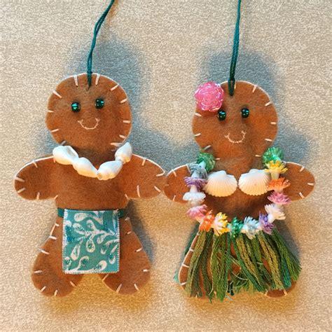 hawaiian gingerbread people christmas ornaments felt