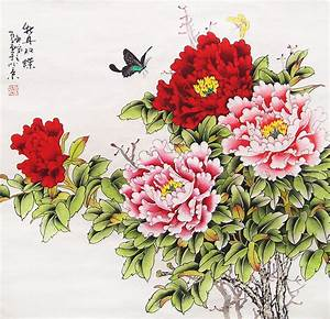 Original painting oriental art chinese l art -peony with ...