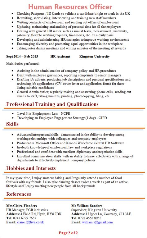 hr officer cv template