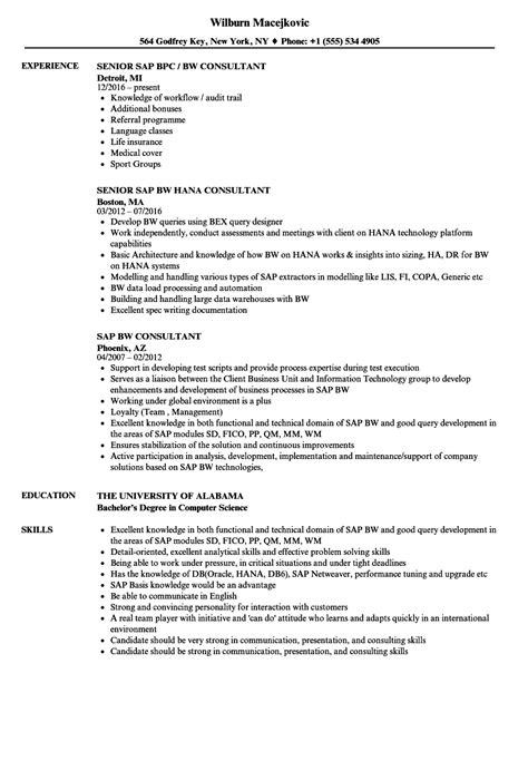 Sap Resume by Sap Bw Consultant Resume Sles Velvet