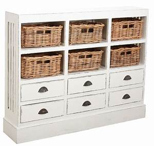 Commode Bois Blanc : commode 6 tiroirs en bois et papier cord ~ Teatrodelosmanantiales.com Idées de Décoration