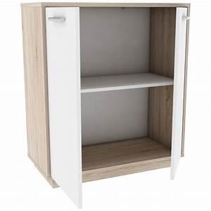 Meuble Bas 2 Portes : meuble bas 2 portes emilio 76cm naturel blanc ~ Dallasstarsshop.com Idées de Décoration
