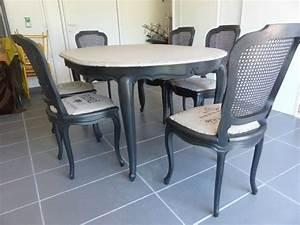 salle a manger relooking chaises et table en merisier With salle À manger louis xv pour deco cuisine