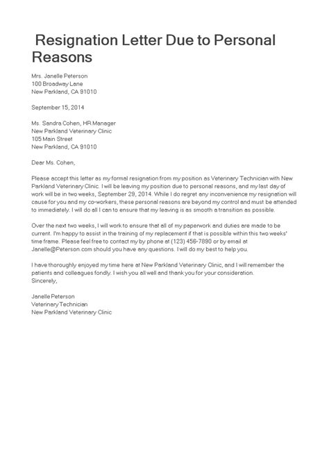due  personal reason resignation letter templates