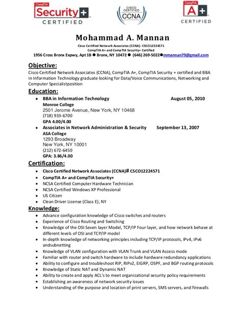 Listing Certifications On Resume by Resume Of Mohammad Mannan