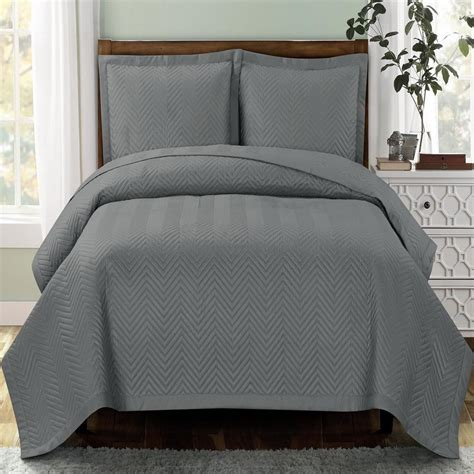 Grey Coverlet by Modern Chevron Grey Quilt Coverlet Set Oversized Luxury