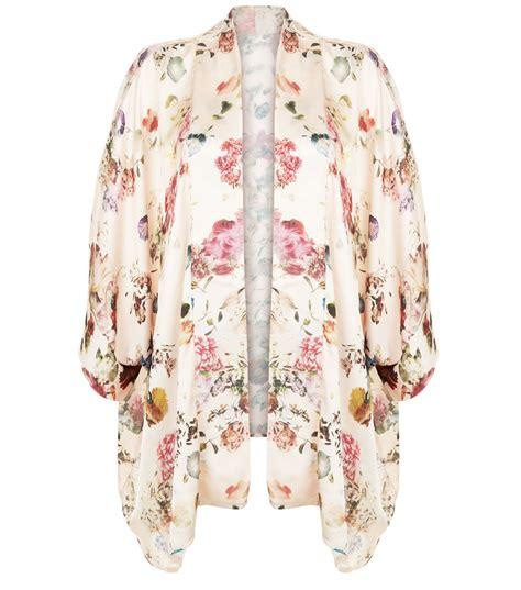 kimono floral new look apricot pink floral print satin kimono satiny