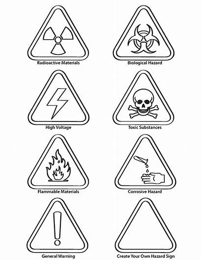 Signs Coloring Warning Danger Safety Pages Health
