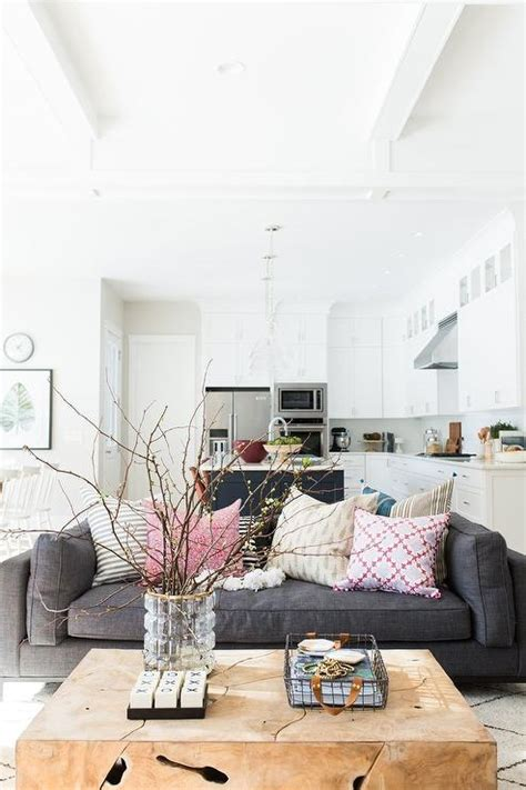 Dark Gray Sofa with Pink and Gray Pillows - Transitional