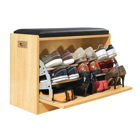wooden shoe cabinet storage bench  seat cushion holds