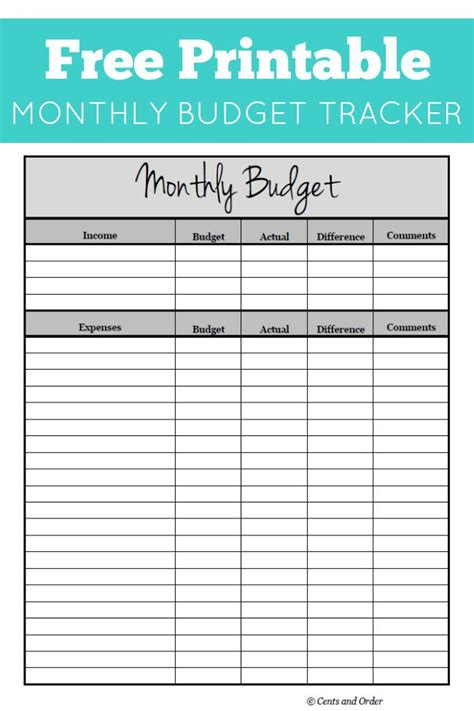 Free Monthly Budget Printable