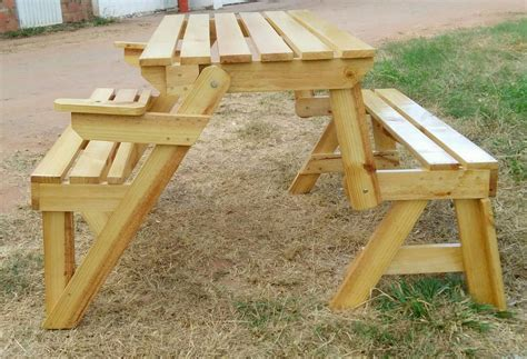 mesa de picnic plegable en banca de madera de pino bs