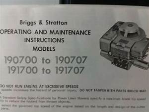 Briggs Stratton 190700 190707 191707 Vertical Gasoline 8 Hp Engine Owners Manual