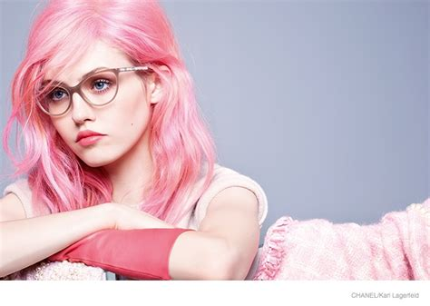 Charlotte Free Pink Hair For Chanel Eyewear Fall 2014