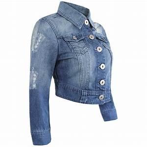 LADIES CROPPED DENIM BLUE WASH JACKET WOMENS FESTIVAL JEANS COAT SHORT JACKETS | eBay