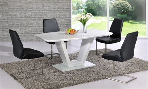 white high gloss dining table with glass top and 6 black