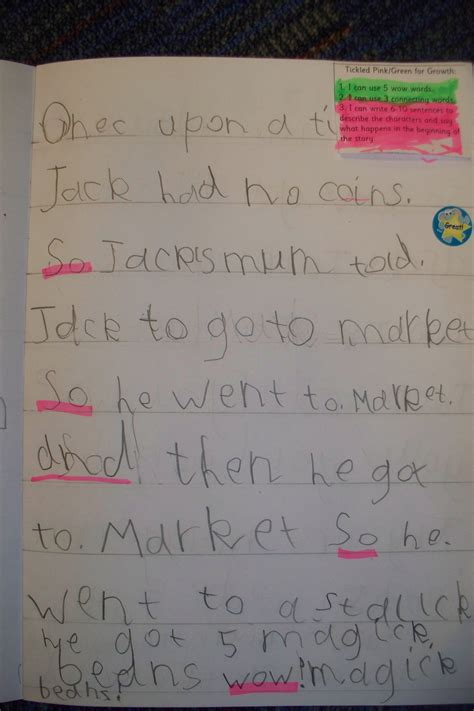 super story writing jack   beanstalk primary p