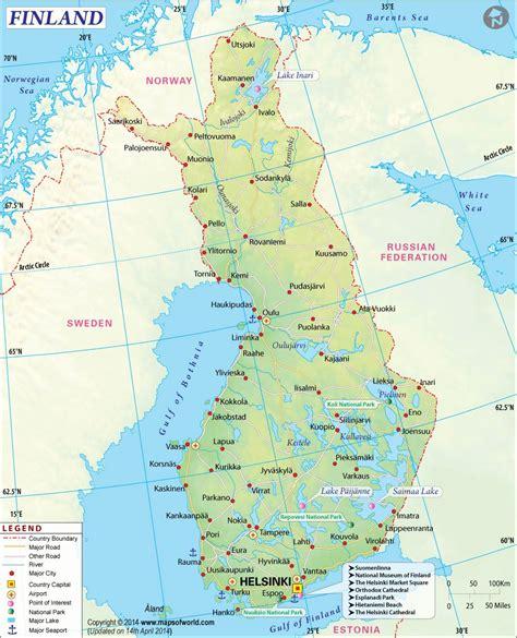 finland map  mapsofworldcom clickable credible site