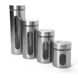 Kitchen Canister Sets Walmart Anchor Hocking 4 Palladian Canister Set With Window Stainless Steel Walmart