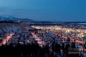 Downtown Whitehorse Yukon T Canada At Winter Night
