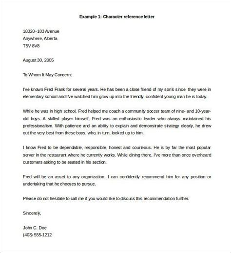 character reference letter template  word