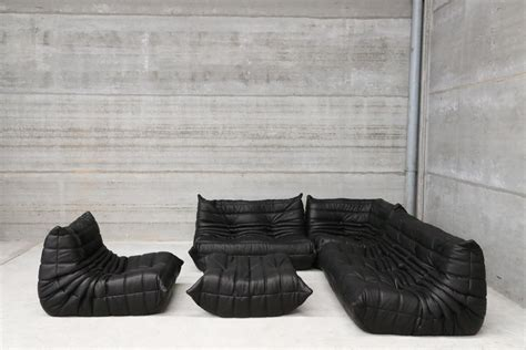 Protection Canapé Cuir - vintage black leather togo lounge set by michel ducaroy