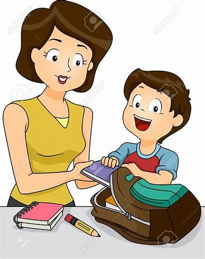 Clipart Preparing Mother Clip Helping Son Scuola