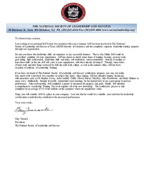 sle recommendation letter national honor society letter of recommendation exle