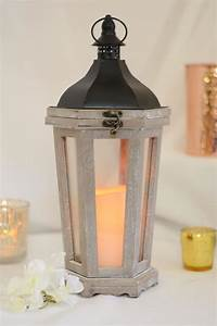 tall, wood, lantern, with, led, candle, 17, 25in