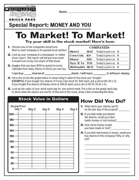 stock market worksheets worksheets for all and