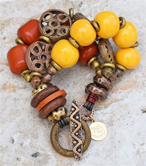 Exotic Amber, Yellow & African Brass Safari Tribal ...