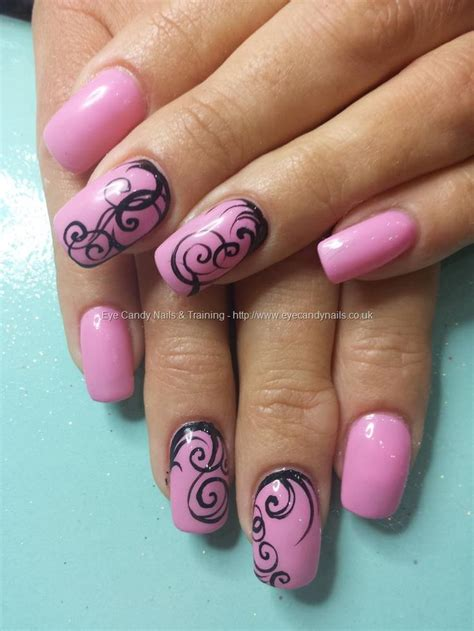 gel  pink gel polish  freehand nail art nails