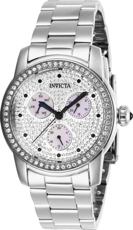 invicta womens  angel quartz  hand white pave dial