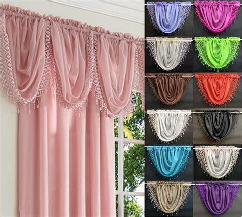 elegance tassled macrame voile swag curtain decorative