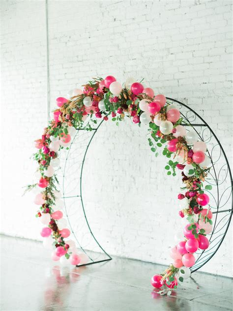 floral balloon arch wedding party ideas  layer cake