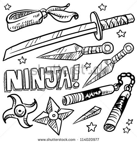 Doodle Style Illustration Ninja Weapons Including Stock