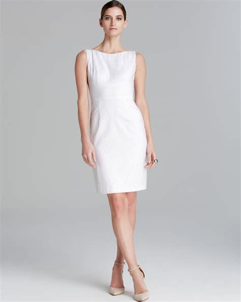 T Tahari Myra Eyelet Sheath Dress in White