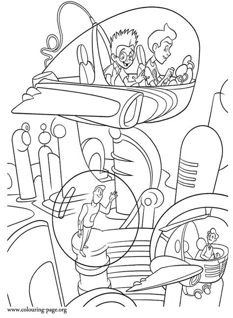 meet  robinsons wilbur robinson  lewis flying   city coloring page