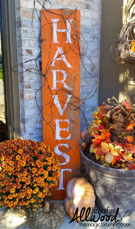 harvest decorations harvest sign on barnwood for fall front porch decor
