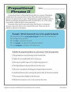 Preposition Worksheet - Prepositional Phrases   Activities ...