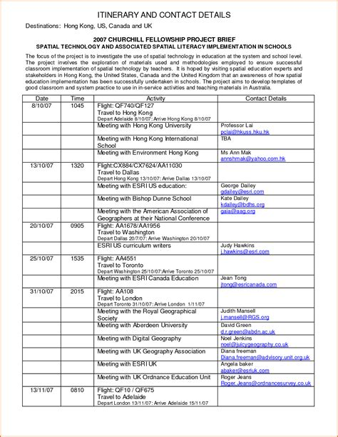 itinerary template 6 itinerary format authorizationletters org