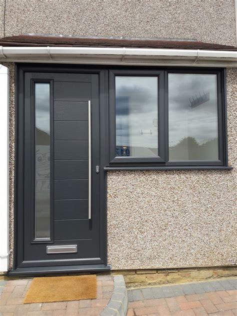 modern composite door combination colour anthracite grey long handle external house doors