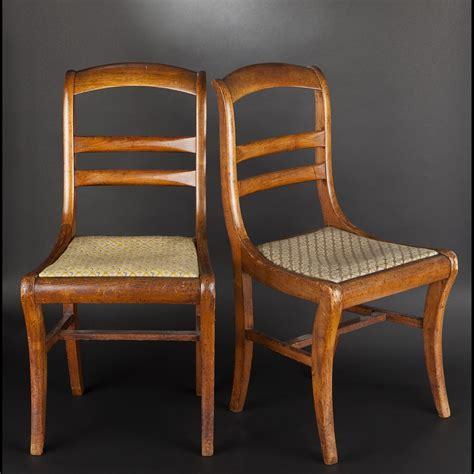 furniture paire de chaises en bois fruitier epoque