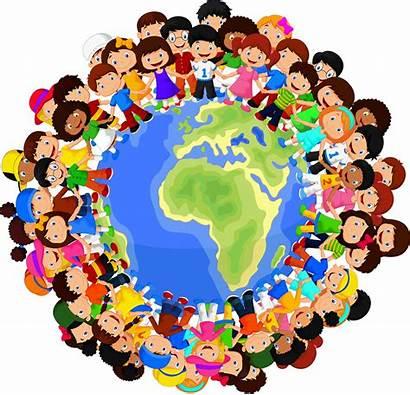 Cartoon Children Multicultural Earth Planet Illustration Vector