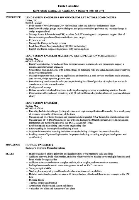 lead system engineer resume sles velvet