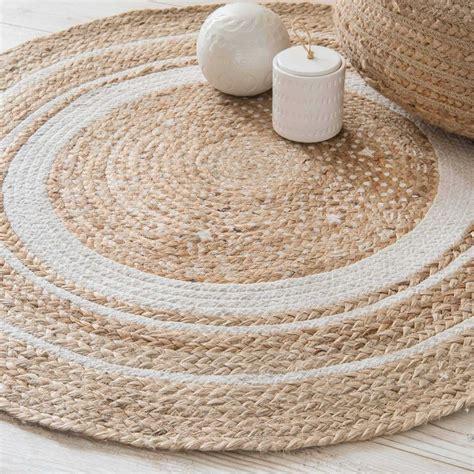 tapis rond en coton blanc  jute dcm tapis rond