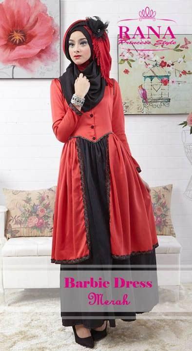 barbie dress merah baju muslim gamis modern