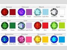 What are the colors of the birthstones that represent each