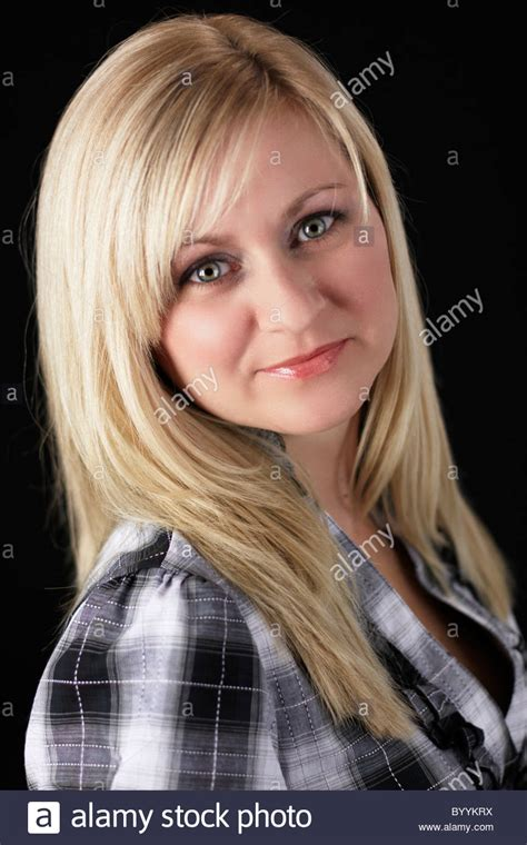 Year Old Woman With Long Blond Hair Stock Photo