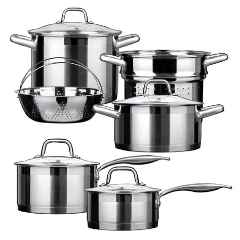 grade commercial stainless steel cookware induction lid cooking aluminum amazon
